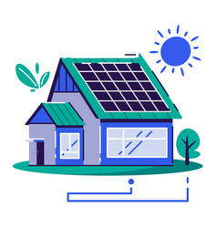 eco house cartoon flat vector image