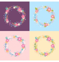 Elegant floral wreath card vector