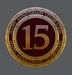 fifteenth happy anniversary celebration symbol vector image