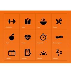 Fitness icons on orange background vector image