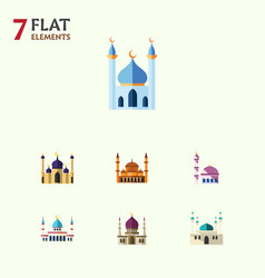 Flat icon building set of architecture vector