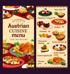 Food desserts austrian cuisine menu template vector