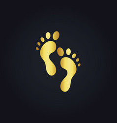 Foot step gold logo vector