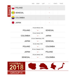 football 2018 group h match schedule all vector image