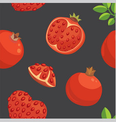 Fresh pomegranates hand drawn background doodle vector