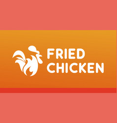 fried chicken logo with burning rooster with fire vector image