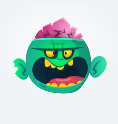 Funny and cool green zombie cartoon vector