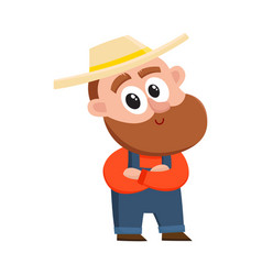 funny farmer gardener character standing with vector image