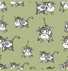Funny grazing cows vector