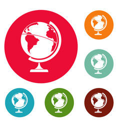 geographic planet icons circle set vector image