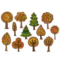 Hand drawn set of autumn trees vector