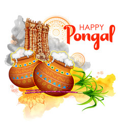 Happy pongal holiday harvest festival tamil vector