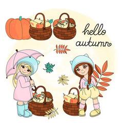 hello autumn autumn set vector image