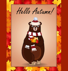 hello autumn poster with cute bear in hat and vector image