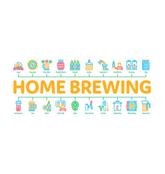 Home brewing beer minimal infographic banner vector