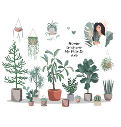 home is where my plants are poster cute house vector image