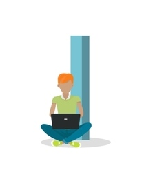 I letter and boy sitting with laptop abc vector