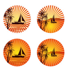 Icons with palms and ships vector