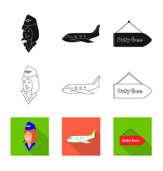 isolated object airport and airplane logo set vector image