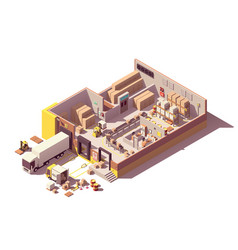 isometric low poly warehouse cross-section vector image