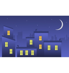 Landscape building at night of silhouette vector image