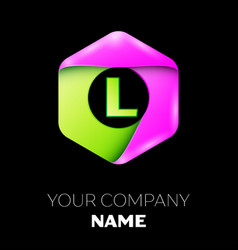 Letter l logo symbol in colorful hexagonal vector