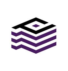 letter p d modern vector image