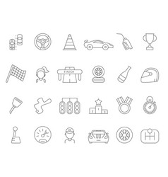 Linear icon set of formula 1 cars vector