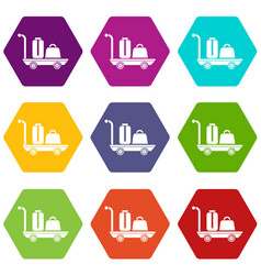 Luggage trolley icons set 9 vector
