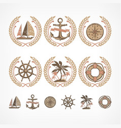 nautical symbol collection vector image