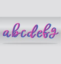 neon gradient alphabet realistic letters a-g vector image
