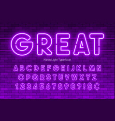 neon light alphabet numbers extra glowing font vector image