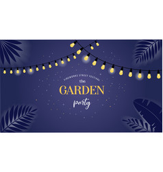 Night garden party banner invitation card vector