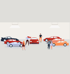 people choosing and buying car flat concept vector image