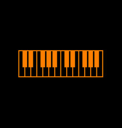 Piano keyboard sign orange icon on black vector