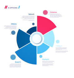 Pie chart concept with 6 parts template vector
