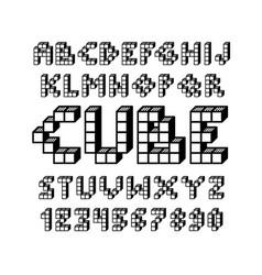 Pixel retro video game font 80 s retro vector