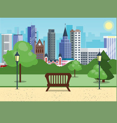 Public city park with bench main street city with vector