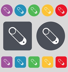 Pushpin icon sign A set of 12 colored buttons Flat vector image