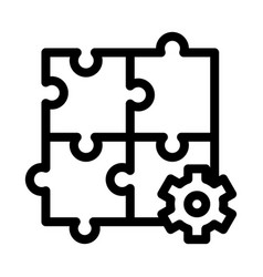 Puzzle game and gear agile element icon vector
