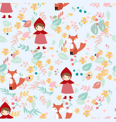 red hood girl and fox in spring flower seamless vector image
