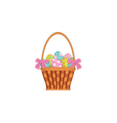 ribbon decorated basket with painted easter eggs vector image
