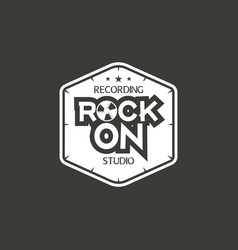 rock on recording studio label badge vector image