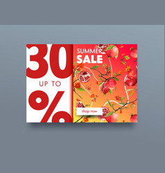 sale poster with ripe pomegranate fruits flowers vector image