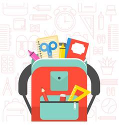 School supplies and school bag back to school vector