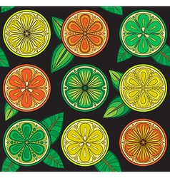 Seamless pattern of oranges lemons and limes vector