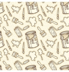 Seamless Pattern Paintbrushes Roller Brushes vector image