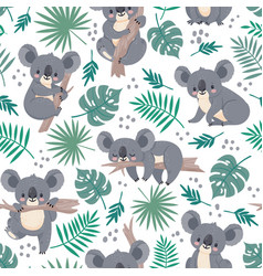 seamless pattern with koalas cute australian vector image