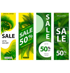 set 4 sale banners with tropical leaves vector image