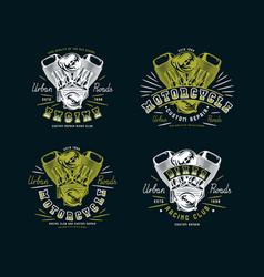 set biker club emblem for t-shirt vector image